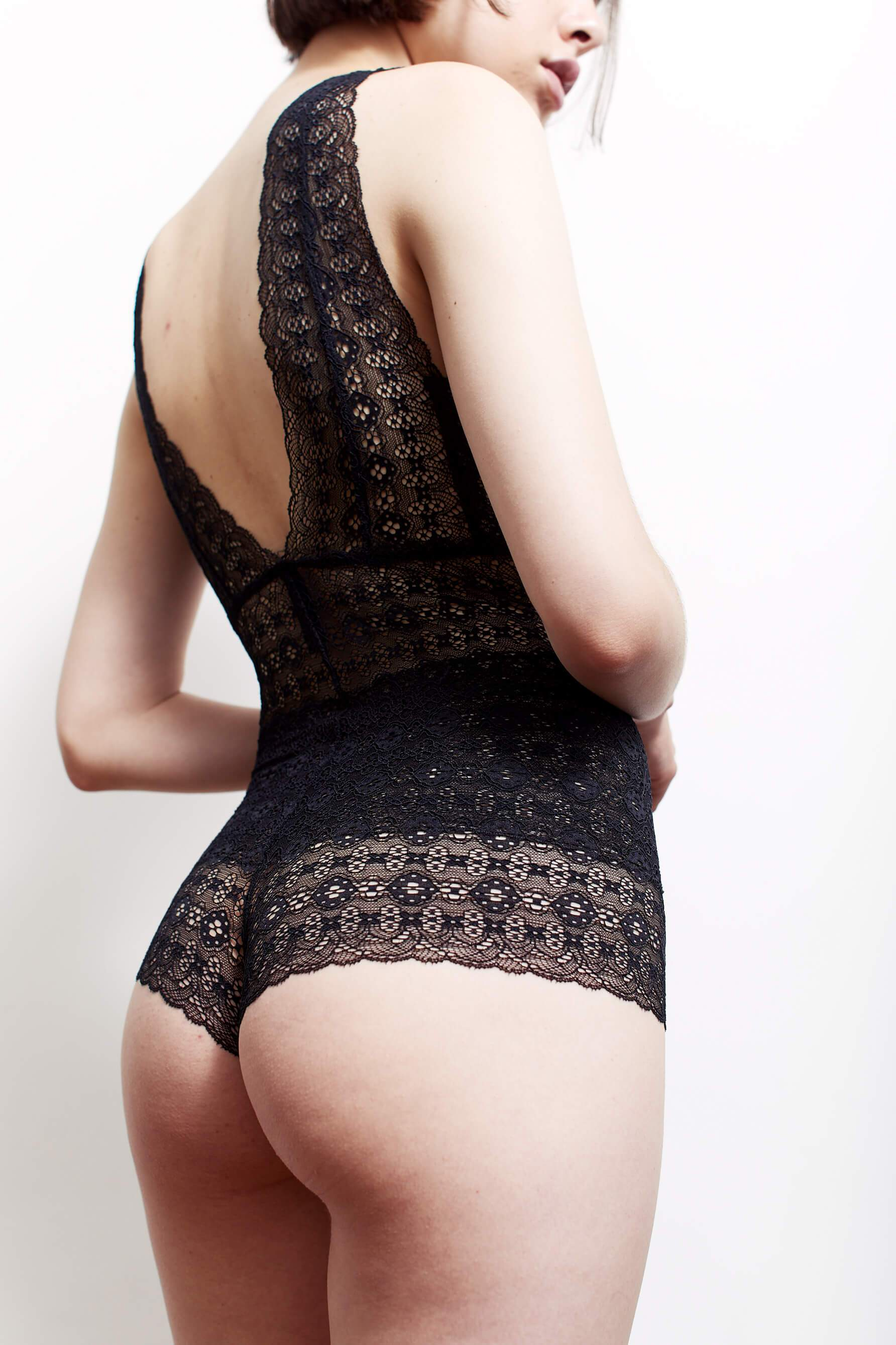 Anna stretch lace bodysuit from Paloma Casile on model, back view