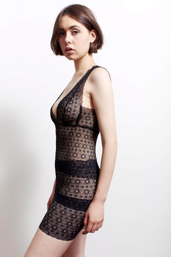 Anna slip dress by Paloma Casile side view on model
