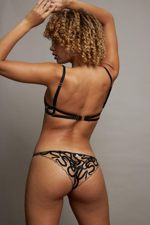 Studio Pia Naga snake embroidered sheer bikini brief, back view, on model also wearing matching bra