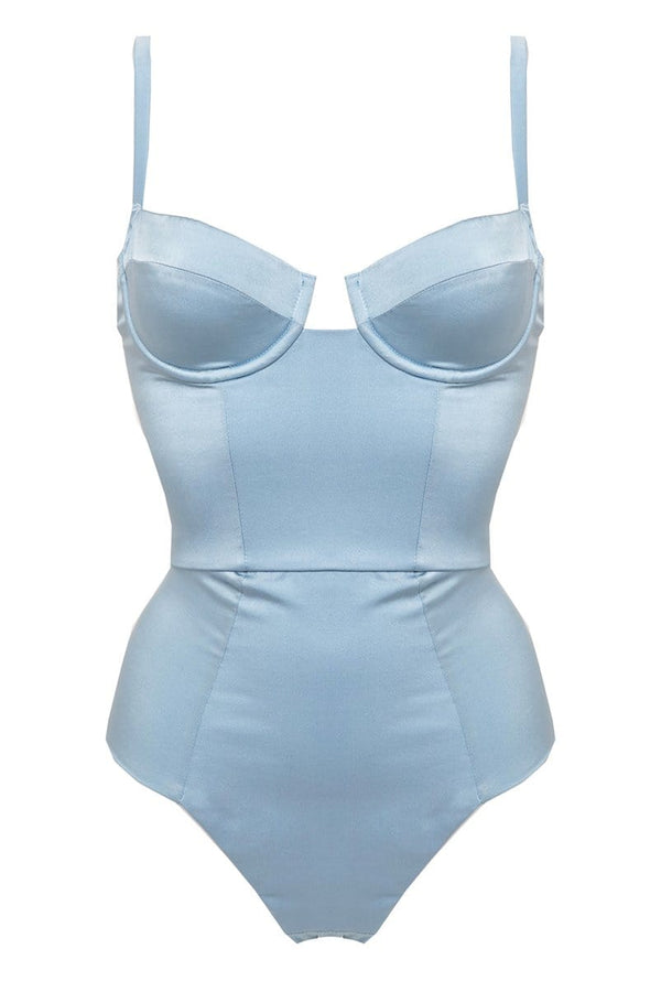 Studio Pia Petra Blue Silk Bridal Bodysuit, front view, on plain white background