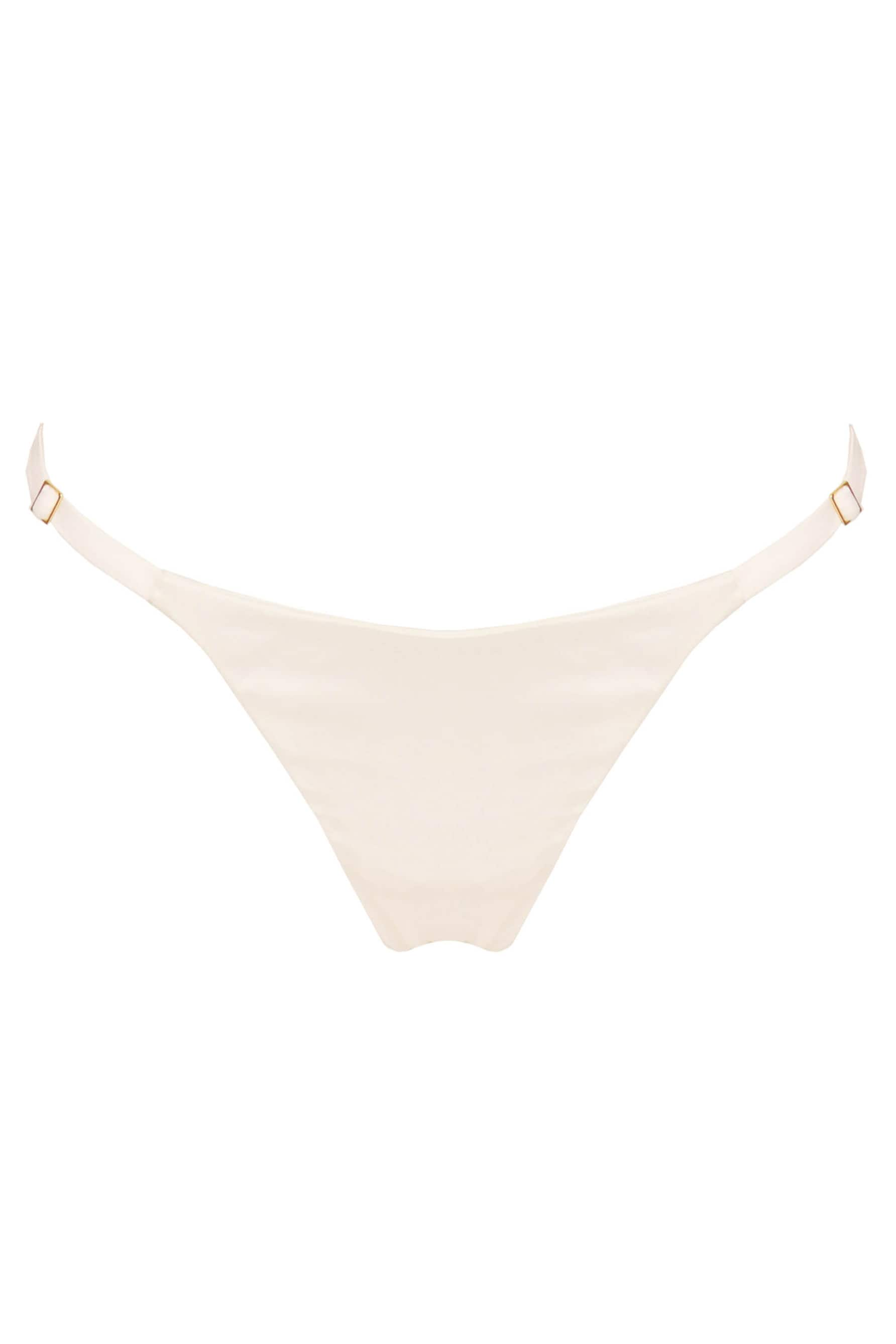 Studio Pia Petra Strap Knicker brief in ivory silk, front view, shown on white background