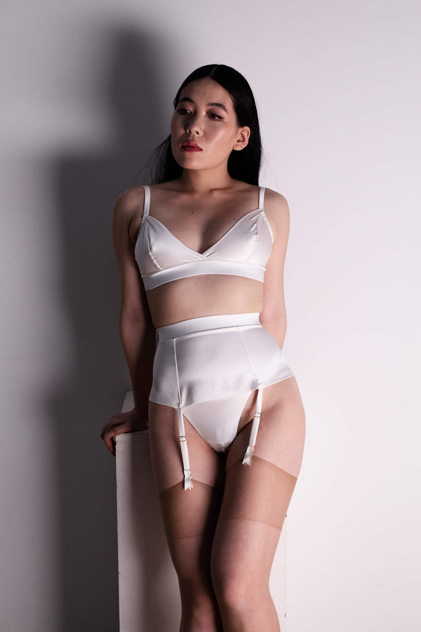 Studio Pia Petra Soft Cup Bralette in ivory silk, front view, shown on model