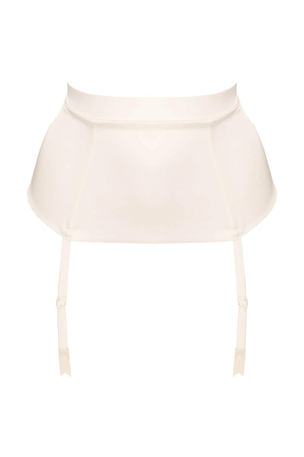Studio Pia Petra Longline Suspender/Garter Belt in Ivory, front view, on plain white background