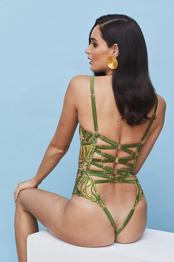 Studio Pia Sirena Green and Gold embroidered bodysuit, back view, on model