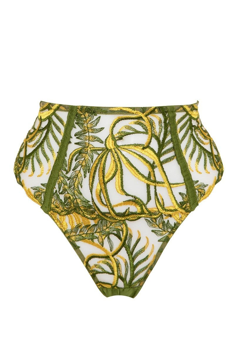 Studio Pia Sirena High Waist Thong in green and gold embroidery, front view, on plain white background