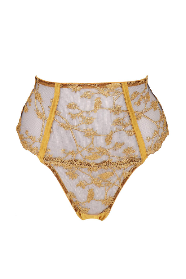 Yuna High Waist Thong by Studio Pia in black tulle with gold embroidery, front view on plain white background