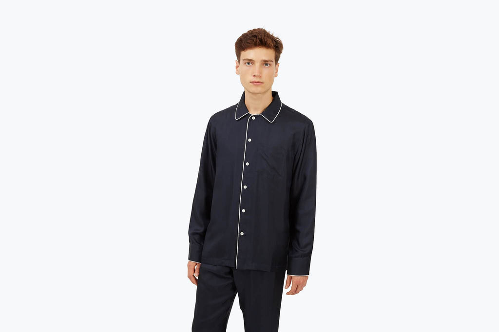 Men's Silk Henry Pajama Shirt