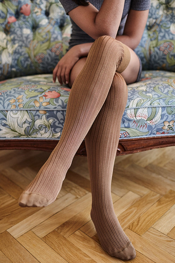 Swedish Stockings Ella over the knee ribbed socks in camel, front view, shown on model