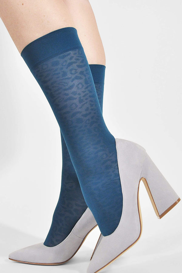 Emma Leopard Socks in Petroleum Blue