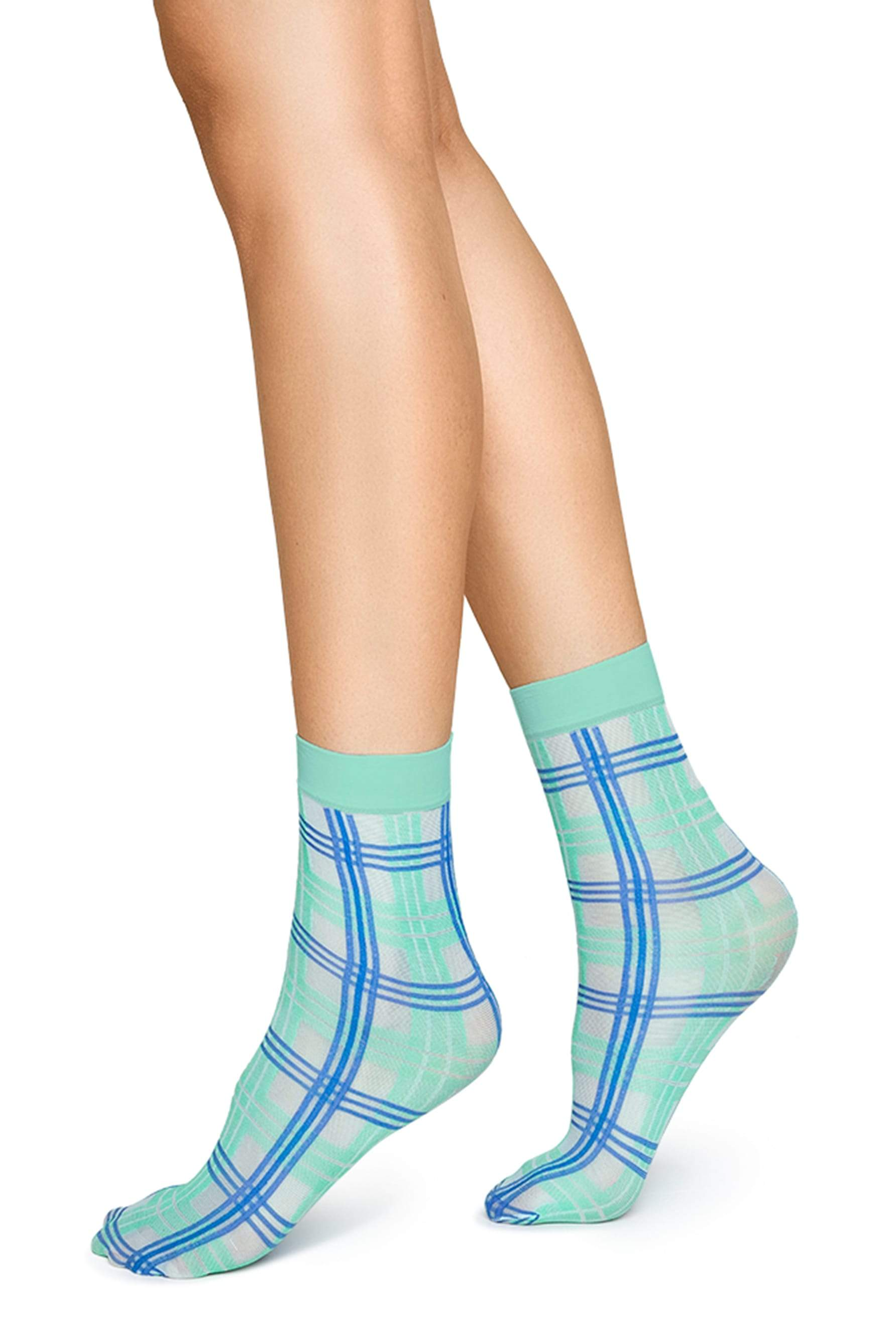 Greta Tartan Sock in Green/Sea Blue