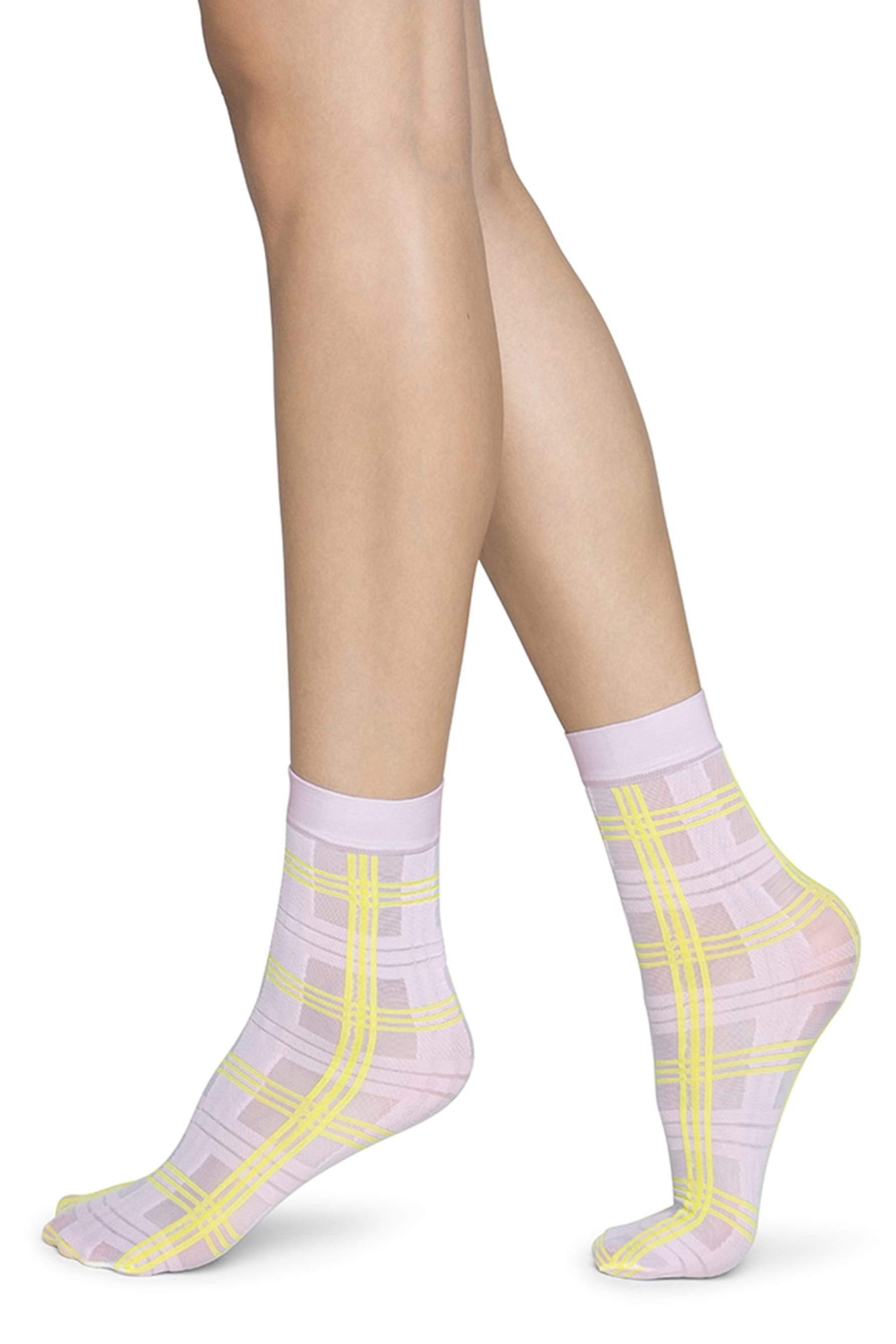 Greta Tartan Sock in Light Pink/Neon Yellow