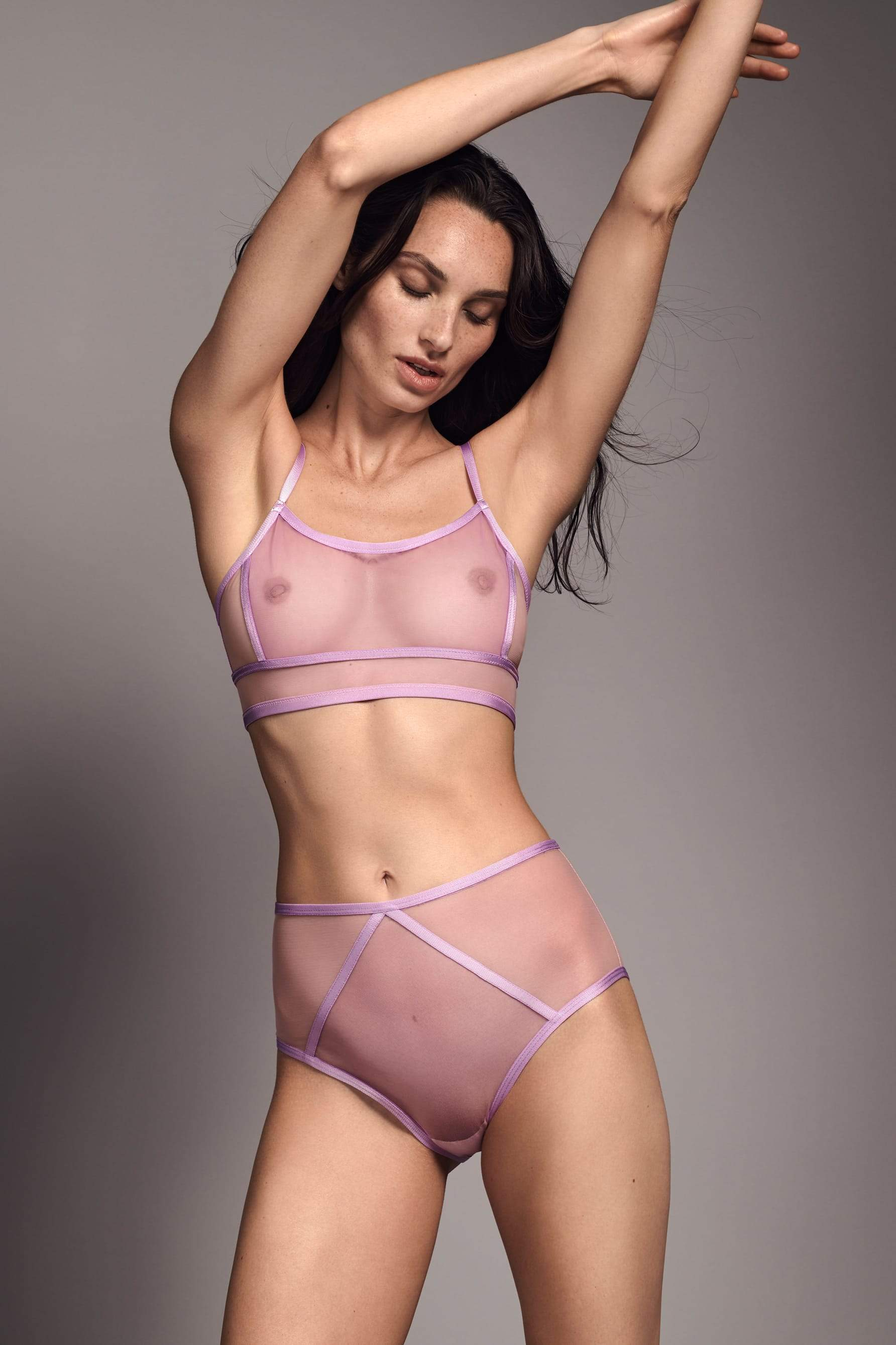 Taryn Winters Kelani Bralette in light pink and purple, front view, on model