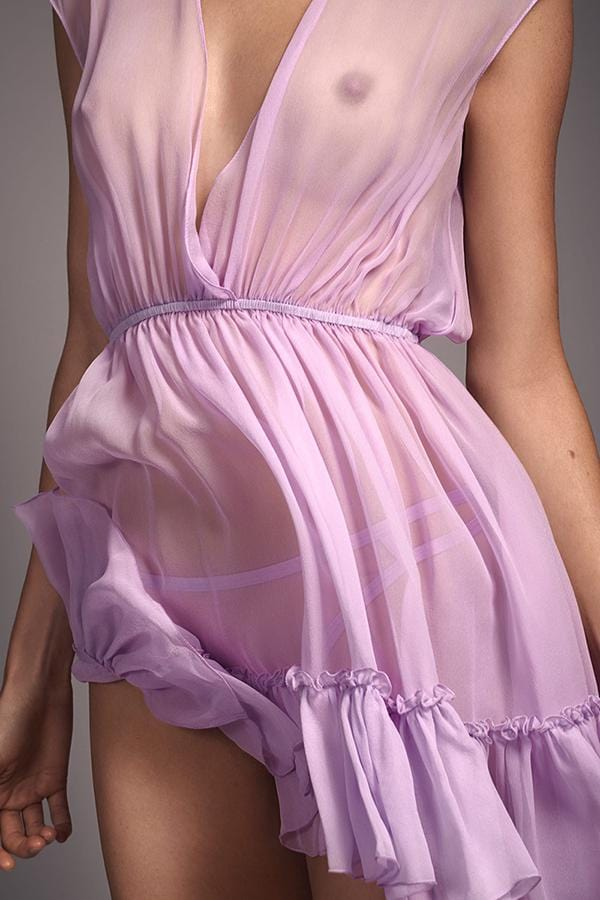 Taryn Winters Morganne Babydoll in sheer lilac purple, detail front view, on model