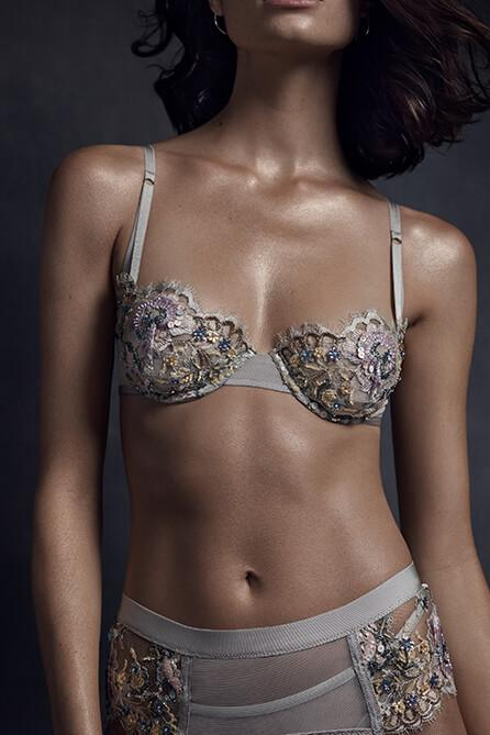 Taryn Winters Pilar Beaded and Embroidered Demi Bra