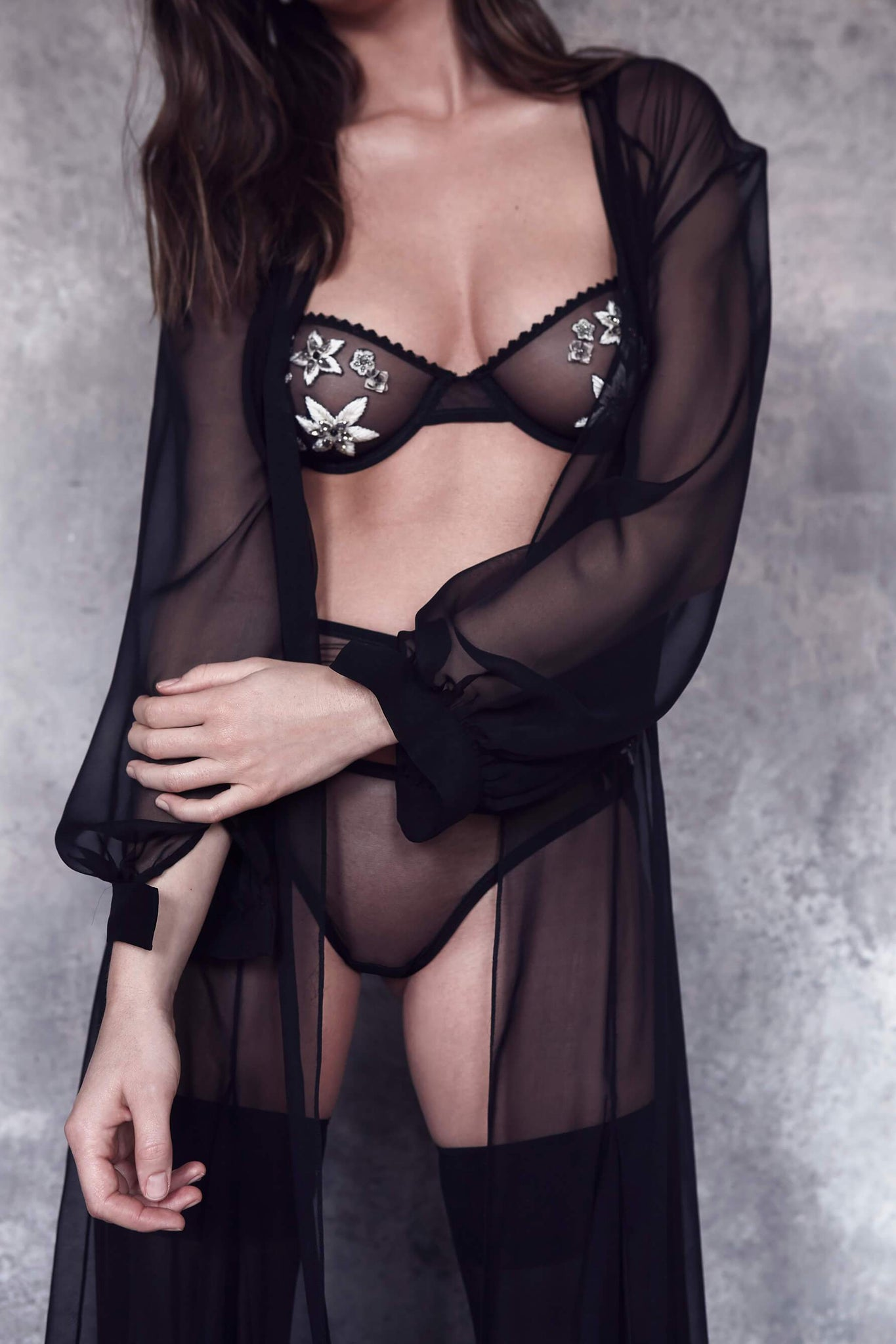 Satine Beaded Embroidered Sheer Black Demi Bra from Taryn Winters