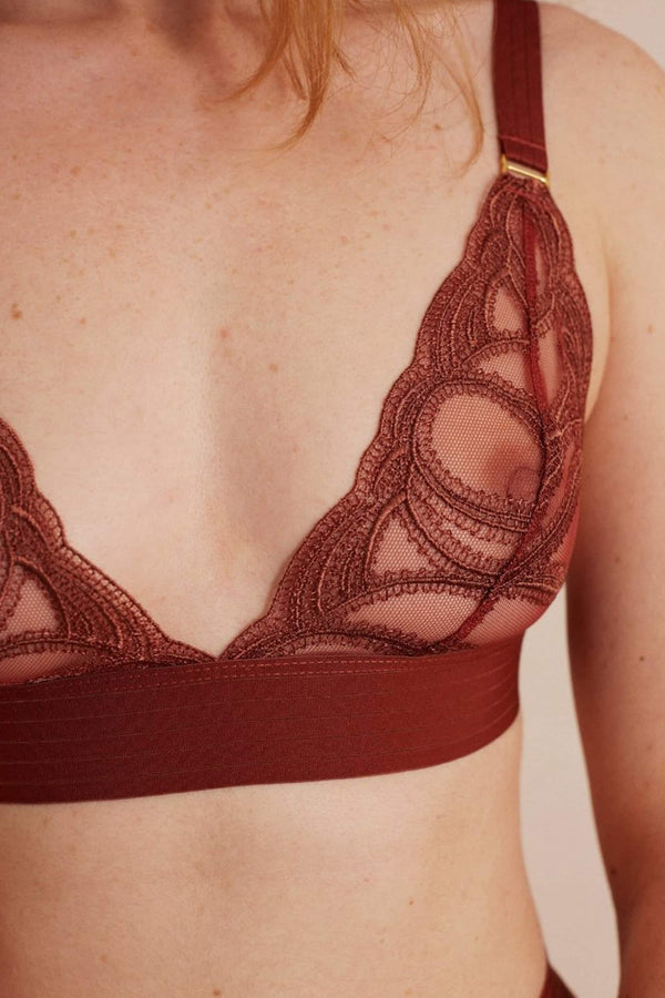 The Underargument Pay It Forward triangle bralette in terra cotta sheer Swiss embroidered mesh and wide ribbed elastic, detail front view shown on model