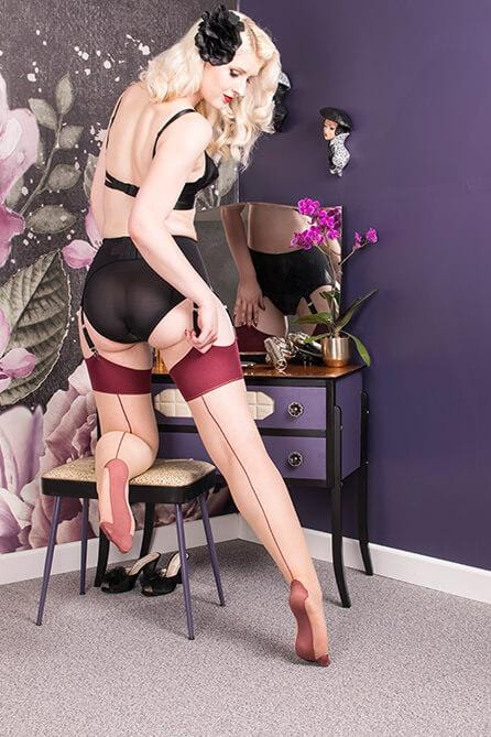 Claret Glamour Seamed Stockings