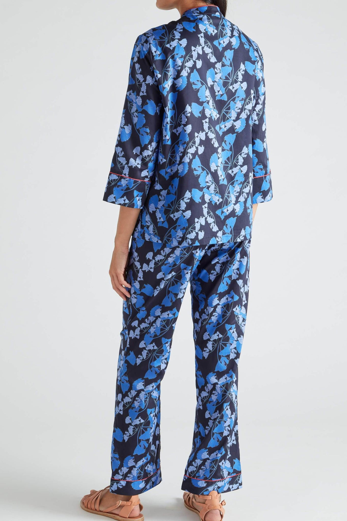 Midnight Mandarin Blue Palm Cotton Pajama Set from Yolke