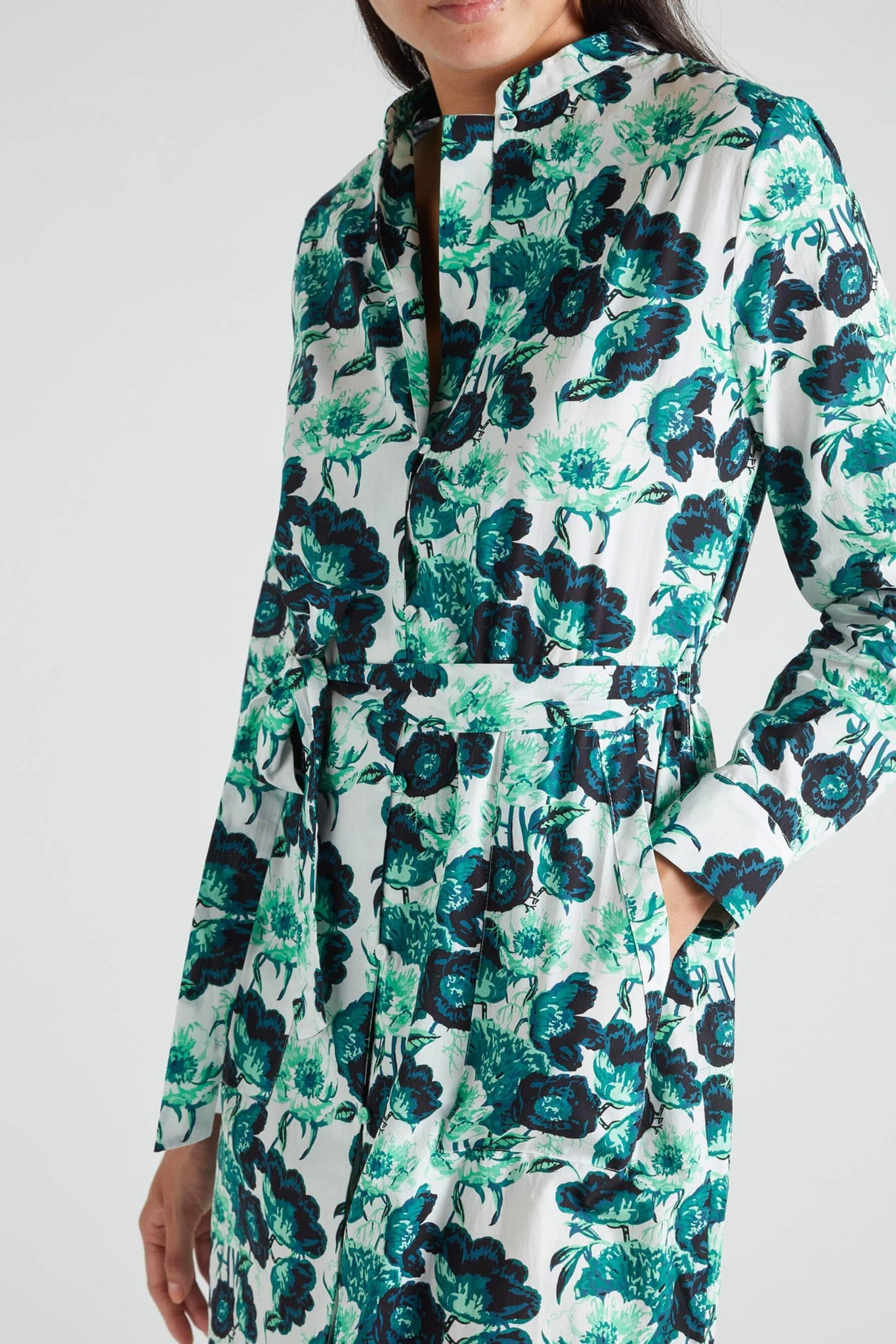 Papavere Cotton Green Floral Shirt Dress from Yolke
