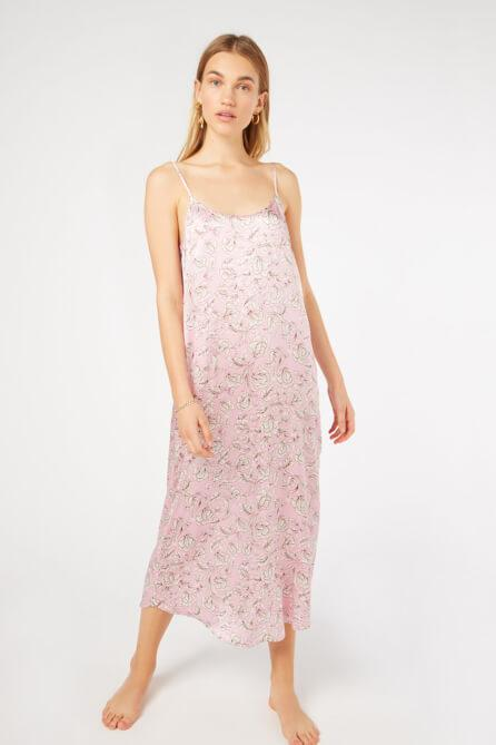 Pink floral Marianne Silk Silp dress by Yolke