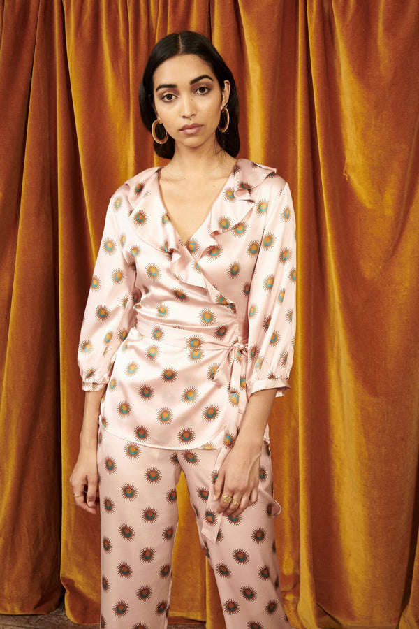 Amelie Grand Soleil Silk Lounge Set from Yolke, on model, front view