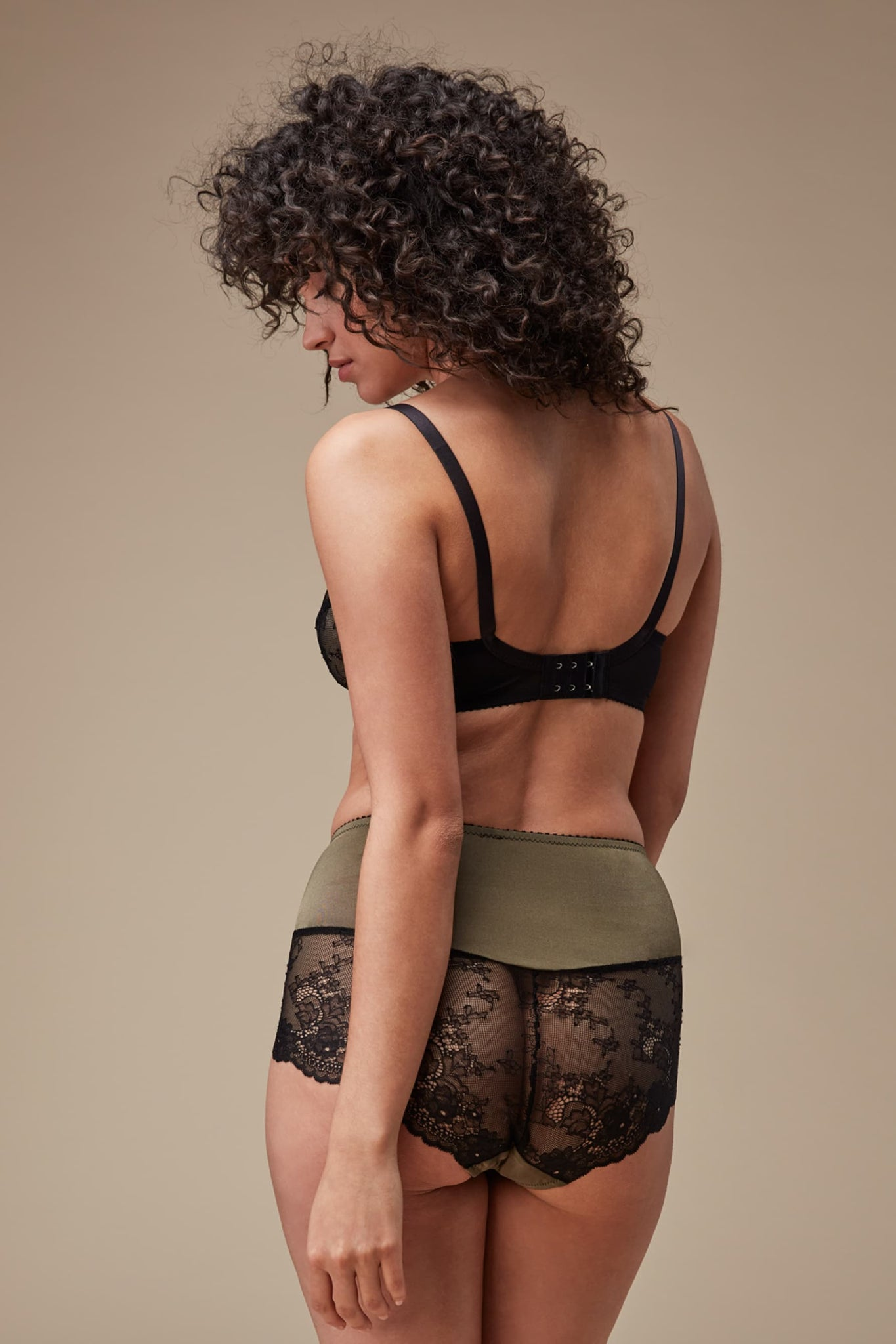 Fortnight Ivy High Waist Briefs in Green and Black Lace