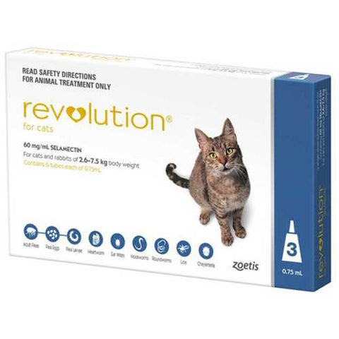 Revolution is a monthly application indicated for the treatment, control and prevention of flea infestations, control flea allergy dermatitis, and treatment and control of ear mites in cats