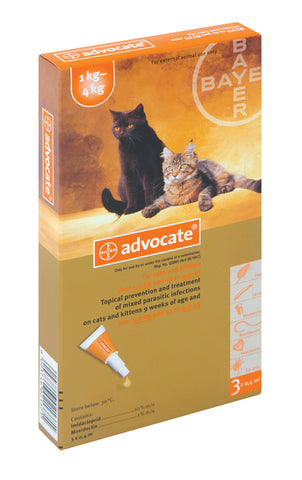 Advocate- Monthly Treatment in Cats over 4kg. Treatment of fleas and their larvae, roundworm, hookworm, and ear mites as well as hookworm, biting lice and sarcoptes. It is also used in the prevention of heartworm.