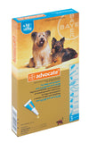 Advocate- Monthly Treatment in dogs 4-10kg. Treatment of fleas and their larvae, roundworm, hookworm, and ear mites as well as whipworm, biting lice, sarcoptes and demodex. It is also used in the prevention of heartworm.
