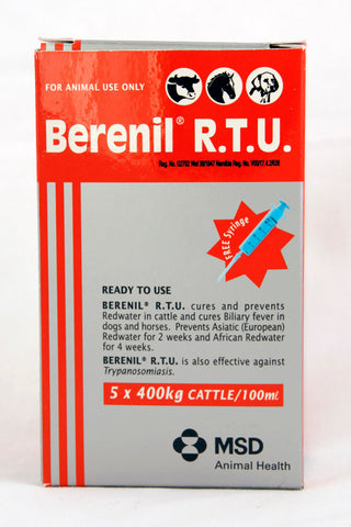 Berenil R.T.U cures and prevents Redwater in cattle and cures Biliary fever in dogs and horses. Prevents Asiatic (European) Redwater for 2 weeks and African Redwater for 4 weeks.