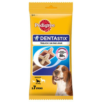 Pedigree Dentastix medium- Aids in  the prevention of plaque build up on your dogs teeth.