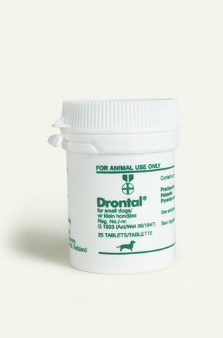 Drontal is a worm remedy against ascarids, hookworms, tapeworms and whipworms in puppies and dogs.