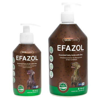 Efazol liquid is a palatable nutritional supplement containing essential fatty acids, vitamins and zinc known to play an important role in the management of certain skin conditions in dogs