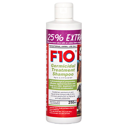 F10 Germicidal Treatment shampoo is a dermatological preparation effective against bacteria and fungi as a skin treatment and to prevent re-infestation.