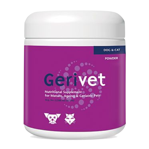 Gerivet is a procaine/vitamin-based powdered nutritional supplement especially for animals experiencing the symptoms of old age