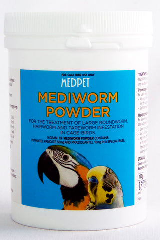 Mediworm Powder- For the treatment of large roundworm, hairworm and tapeworm infestation in cage birds