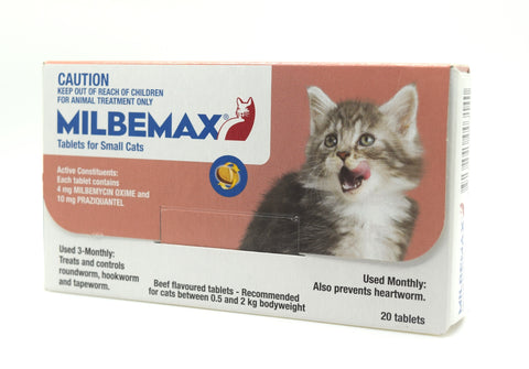 Milbemax is used for the treatment of mixed infections of immature and adult cestodes and nematodes in kittens and cats. 05 -2Kg