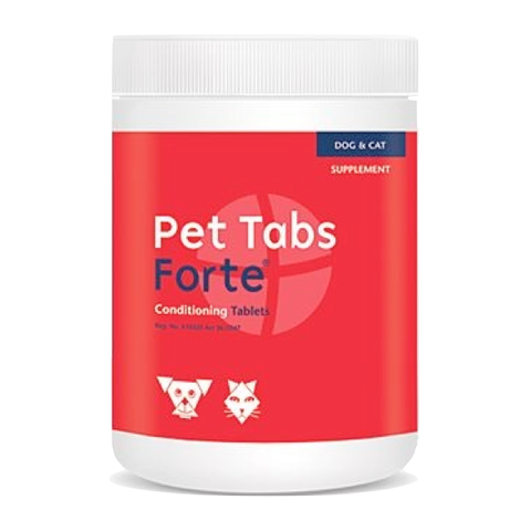 Pet Tabs Forte is a comprehensive nutritional supplement containing a complete spectrum of vitamins, minerals and protein to keep animals in peak condition