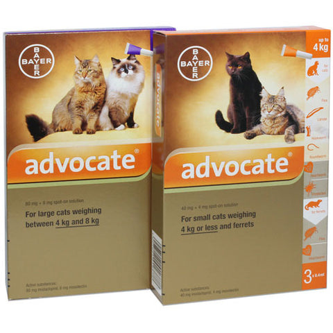 Advocate- Monthly Treatment in Cats and Kittens from 9 weeks of age and over 1kg. Treatment of fleas and their larvae, roundworm, hookworm, and ear mites as well as hookworm, biting lice and sarcoptes. It is also used in the prevention of heartworm.