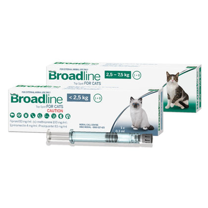 Broadline Top Spot for Cats is an all-in-one external treatment to rid your phenomenal felines of tapeworms, hookworms, bladder worm, two types of feline lungworms, ticks, fleas and mange mites