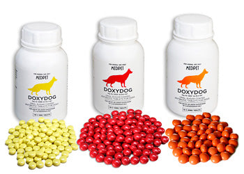 Doxydog- Sugar-coated Doxycycline tablet for the treatment of Canine Ehrlichea and other Doxycycline susceptible bacteria.