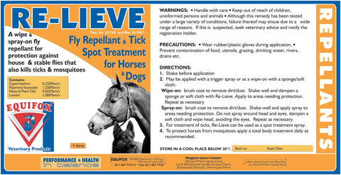 Equifox Re-Lieve- Fly repellant & tick spot treatment for horses and dogs