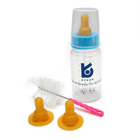 Puppy & kitten nurser kit includes one bottle with teat, two extra teats and a cleaning brush