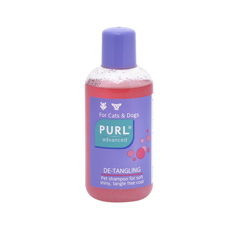 Purl Advanced De-tangling is a pet shampoo for a soft, shiny, tangle-free coat, and can be used on both dogs and cats
