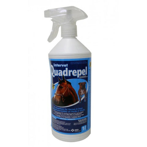 Quadrepel -A wipe and spray-on fly repellent for protection against house and stable flies that also kills ticks and mosquitoes, for horses and dogs.