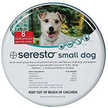 Seresto  giving your dog < 8Kg up to 8 months of protection against fleas and ticks.