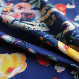 Midnight Blue Floral Organic Sateen