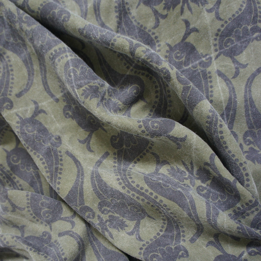 REMNANT: Washed Olive Oversized Paisley Tencel