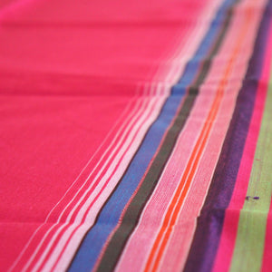 Hot Pink Plain Weave with Multi-Colour Stripes