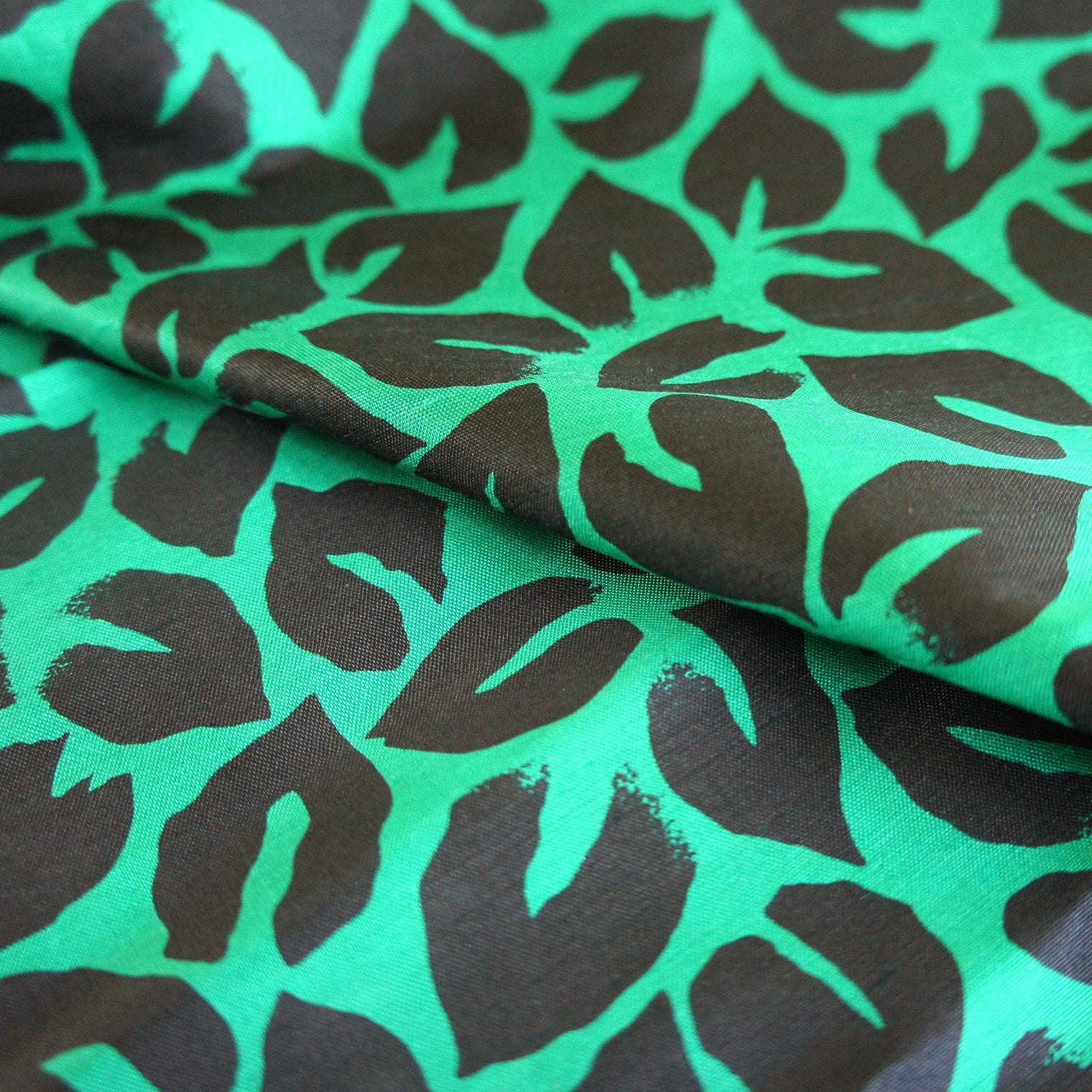 Emerald Green with Black Leaf Print